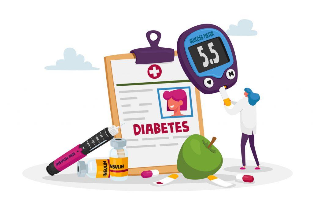 illustration of diabetic care items (insulin bottle, glucose meter, etc.)
