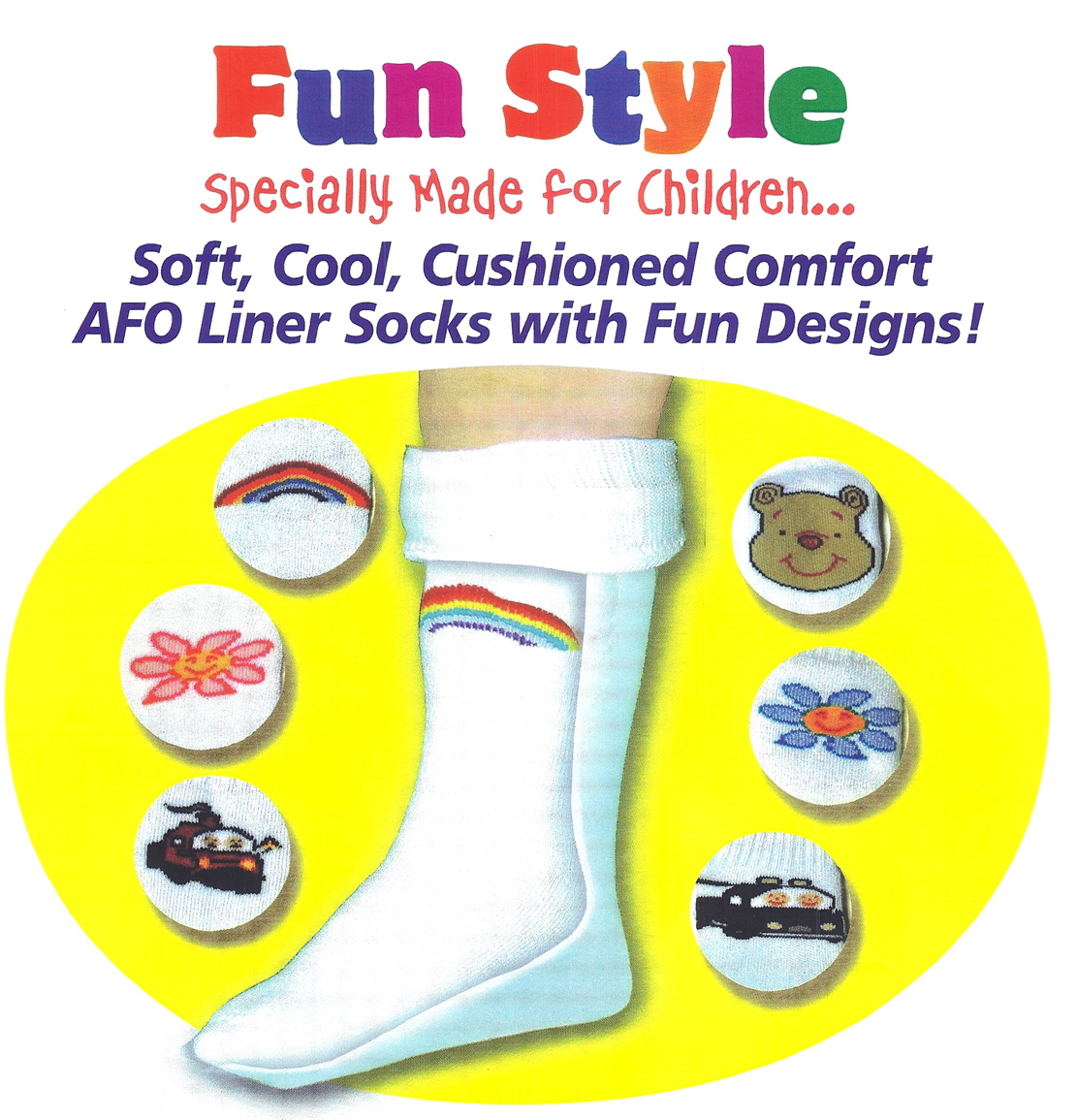 AFO Liner Socks for Kids: Boys-Girls Fun Design AFO Liner Socks